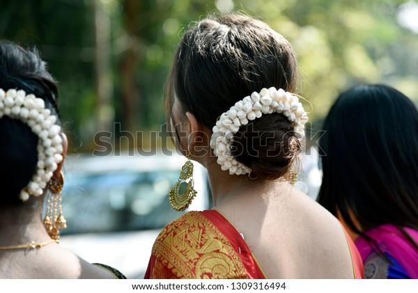 Swell Indian Bun Hairstyle White Flowers People Beauty Fashion Stock Schematic Wiring Diagrams Phreekkolirunnerswayorg