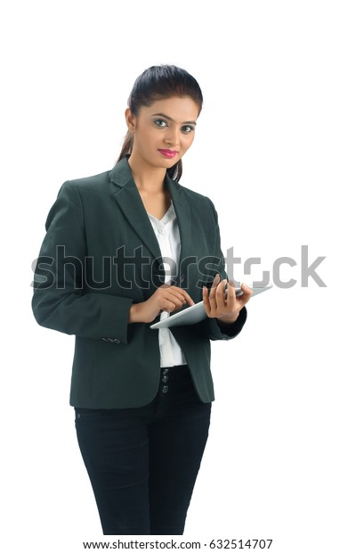 indian Business woman with tablet computer