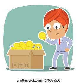 indian businessman choosing bulb