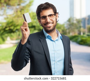 indian businessman with credit card