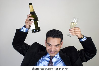 Indian businessman having fun at a party