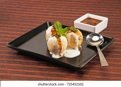 Indian Chaat Dahi Bhalle with Curd and Sweet Sauce