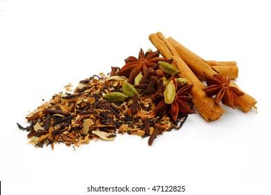 indian chai tea on white background