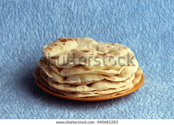 Indian chapatis stack of tortillas on a plate