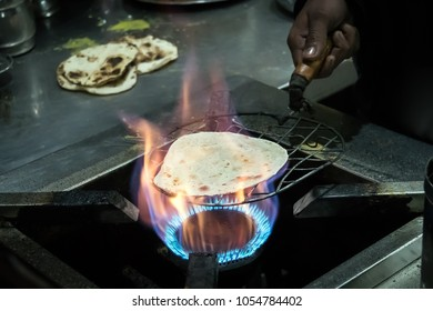 Indian chapatti on fire, Pushkar, India