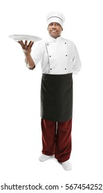 Indian chef in uniform on white background