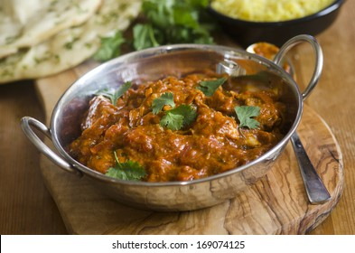 Indian chicken Balti with pilau rice and naan