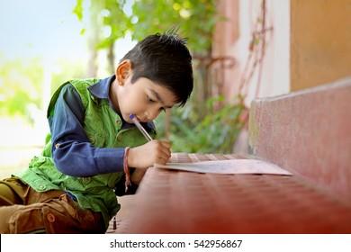 Indian child studying