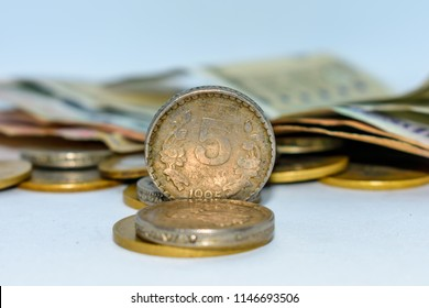 indian circulating coins isolated on white background.