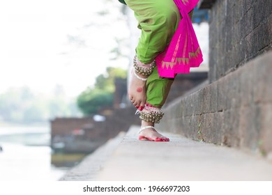 Indian Classical Dance form feet with Traditional ankle bells called ghungroo.