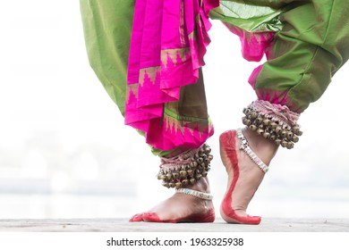 Indian Classical odssi Dance form feet with Traditional ankle bells called  ghungru , Alta(Red Dye)