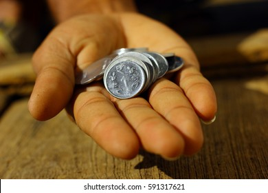 Indian coins in hand
