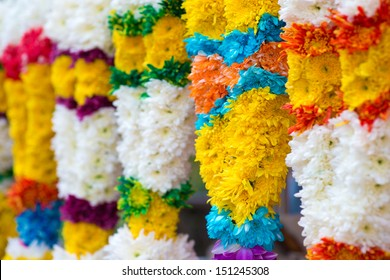 Indian colorful flower garlands for sales during diwali festival