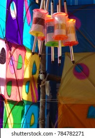 Indian colorful paper kites and Kite Thread Reel for sale, during spring festivals such as Makar Sankranti, Background