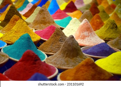 indian colorful spices in boxes