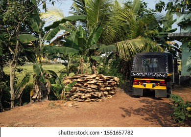 Indian countryside, tuk-tuk parked at the house, surrounded by tropical palm trees, greenery with stack of desks at the ground, Kerala, India, sunny day, everyday life in asia