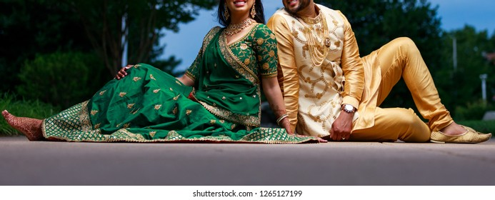 Indian couple on their sangeet outfits Karachi, Pakistan, December 20, 2018
