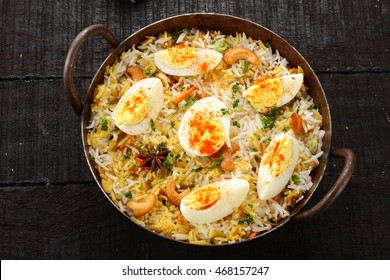 Indian cuisine -delicious egg biriyani,Selective focus photograph,overhead view.
