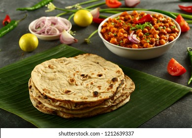 Indian cuisine- homemade phulka roti served with vegan curry