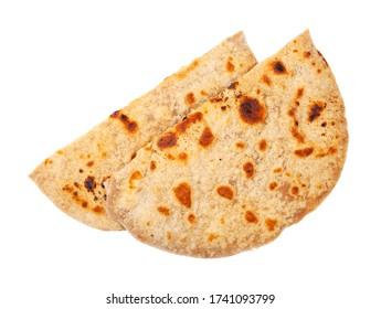 Indian cuisine - pair of tandoori roti (naan flatbread baked in tandoor ) isolated on white background