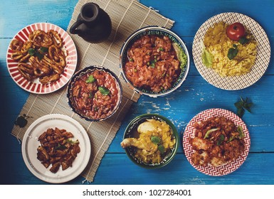 Indian cuisine . Traditional assorted India dishes, Top view.