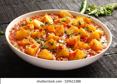 Indian cuisine-Aloo curry masala,potato cooked with spices and herbs,