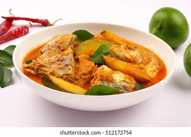 Indian cuisine-Delicious Fish curry with coconut and mango
