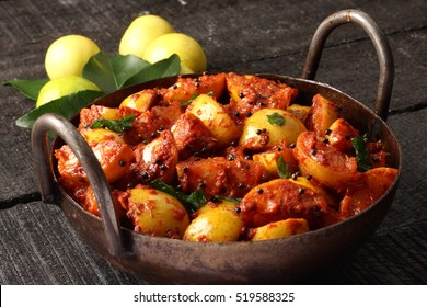 Indian cuisine-Homemade delicious picked lime with spices and herbs,