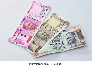 Indian currency. 100, 500, and 2000 rupee note.