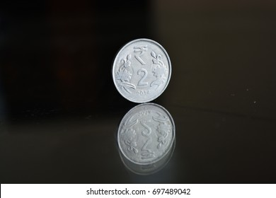 An Indian currency 2 rupees coin