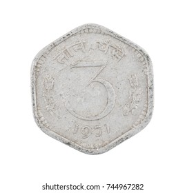 Indian Currency or Indian old Coin 3 Paise 1971 isolated on White Background