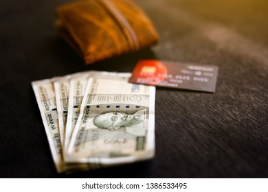 Indian Currency with Purse, Credit Debit Card,