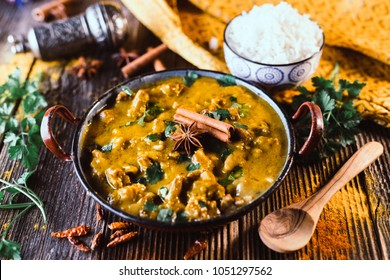 indian curry on wooden background