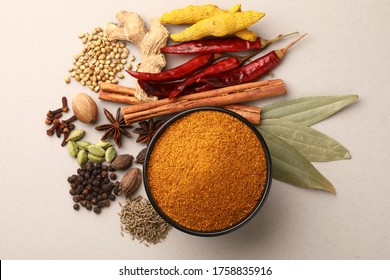 Indian curry powder with raw ingredients, indian curry masala