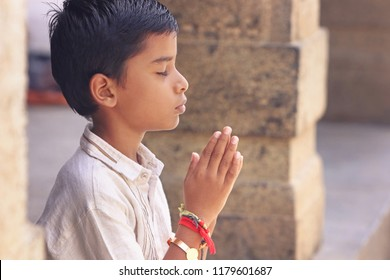 Indian Cute Little Boy Praying