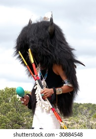 Indian dancer performing the Buffalo Dance during religious ceremony