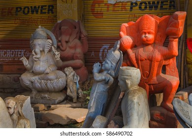 Indian deity statue on the street in the shop. Govardhan Parikrama Marg.India, Govardhan, November 2016