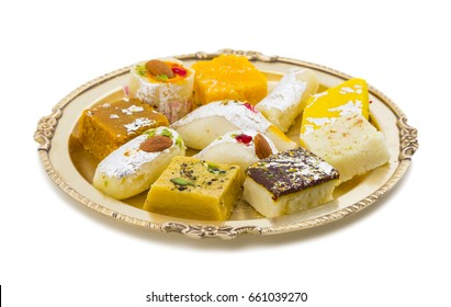 Indian Delicious Mix Sweet Food or Mix Mithai isolated on White Background