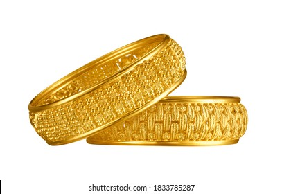 Indian design gold bangle isolated on white background