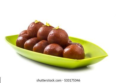 Indian Dessert Gulab Jamun. Sweet Dish isolated on white background