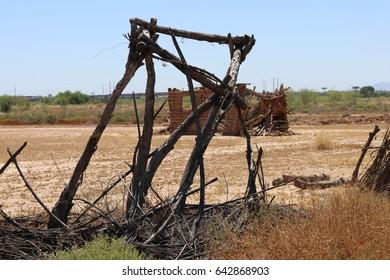 Indian dilapidated hogan