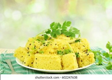 Indian dish khaman dhokla