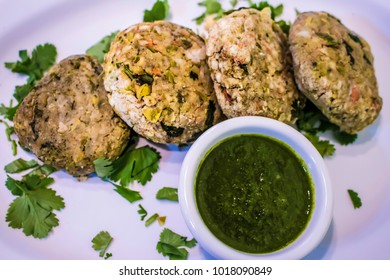 Indian Dish of Sabudana Tikki with Cilantro and Mint Chutney for the Hindu Festival of Navratri