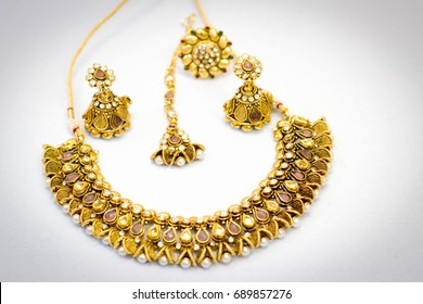 Indian ethnic  Jewellery set necklace, earring, ring and other accessories