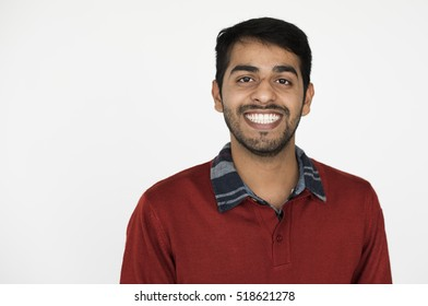 Indian Ethnicity Adult Man Casual Happiness Concept