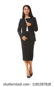 indian executive business woman in black official suit skirt jacket high heels stiletto shoes full body length isolated on white back view