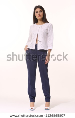 f222a00d1ae indian executive business woman posing in casual white jacket and trousers  high heels stiletto shoes full