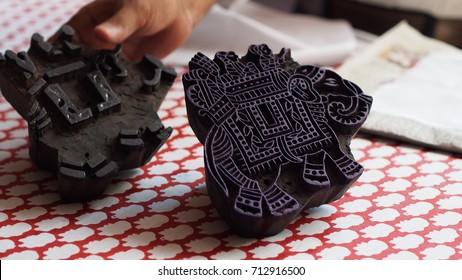 Indian fabric hand printing