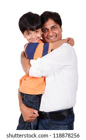 Indian family, father holding-hugging the son