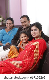 Indian family in traditional costumes